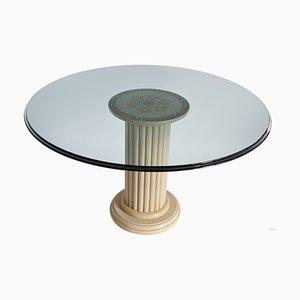 Clear Crystal Glass & Art Inlay Marble Dining Table by Cupioli