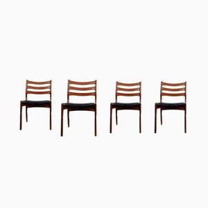 Dänische Esszimmerstühle aus Afromosia & Kunstleder, 1960er, 4er Set