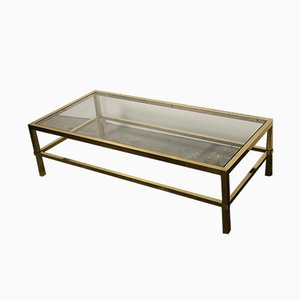 Vintage Gold Metal and Glass Rectangular Coffee Table from Roche Bobois, 1970s