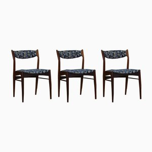 Danish Fabric and Teak Dining Chairs, 1970s, Set of 3