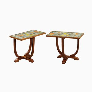 Mid-Century Oak and Glazed Ceramic Nightstands by Les 2 Potiers, Set of 2