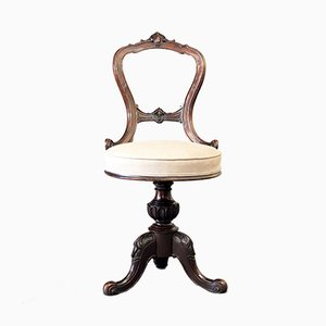 Chaise Pivotante Ancienne Victorienne en Noyer, années 1870