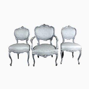 Chaises Anciennes Style Louis XV Bleues et Blanches, Set de 3