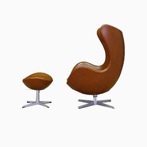 Dänischer Ledersessel von Arne Jacobsen für Fritz Hansen, 1960er