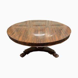 Mesa de comedor William IV antigua redonda de palisandro