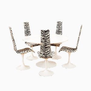 Metal and White Lacquered Wood Model Lyra Dining Table & Chairs Set by Maurice Burke for Arkana, 1960s