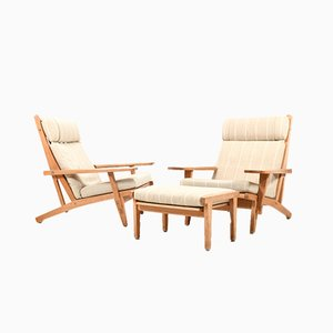 Model GE-375 Lounge Chairs and Footstool Set by Hans J. Wegner for Getama, 1970s