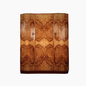 Art Deco Burl Walnut Wardrobe, 1930s