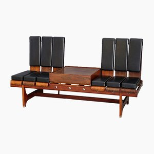 Rosewood and Black Leather Modular Bench from Barovero Torino, 1950s