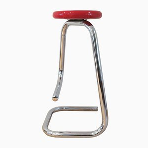 Red Chrome Model K700 Paperclip Stool by Hugh Hamilton & Philip Salmon for Canada Design Import, 1960s