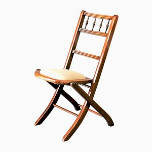 Antique Edwardian Beech Folding Chair, 1900s