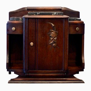 Vintage Marble and Wood Cabinet, 1920s
