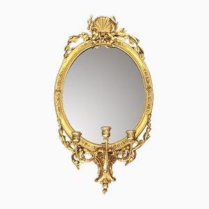19th Century Gilt Wood and Gesso Oval Girandole Mirror