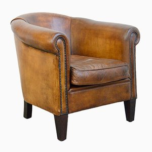 Cognac Sheepskin Leather Club Chair, 1950s