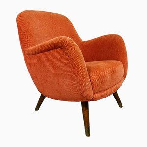 Orange Velour Lounge Chair, 1950s