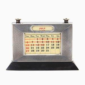 Art Deco Silver Perpetual Desk Calendar from WJ Myatt & Co, 1930s