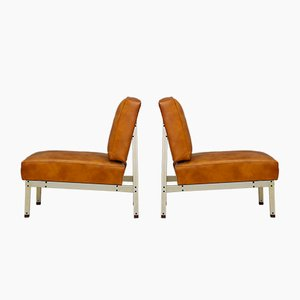 Mid-Century Brown Leather Lounge Chairs, 1950s, Set of 2