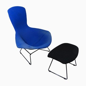 Sessel & Fußhocker Set von Harry Bertoia für Knoll Inc. / Knoll International, 1980er