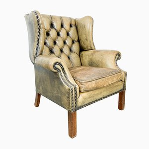 Olive Chesterfield Wingback Armchair, 1960s