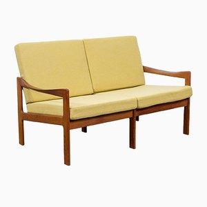 Dänisches 2-Sitzer Sofa mit Gestell aus Teak von Illum Wikkelsø für Niels Eilersen, 1960er