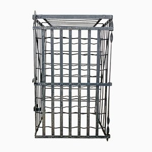 Antique Black Wrought Iron Wine Rack
