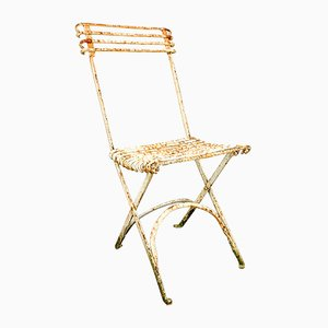 Antique Wrought Iron Foldable Garden Chair from Arras