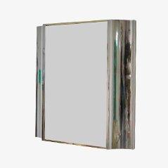 Vintage Spiegel aus Stahl & Messing