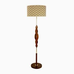 Skulpturale dänische Mid-Century Stehlampe aus Teak & Messing, 1960er
