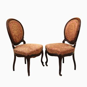 Antique Louis Philippe Lounge Chairs, Set of 2