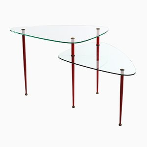 Italian Tempered Glass and Brass Side Table by Edoardo Paoli for Vitrex, 1950s