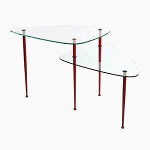 Tavolino in vetro temperato e ottone di Edoardo Paoli per Vitrex, Italia, anni '50