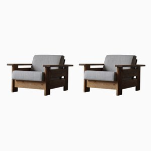Danish Pinewood Lounge Chairs, 1970s, Set of 2