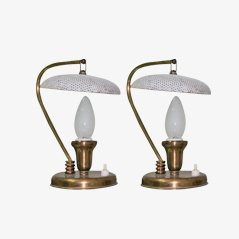 Mid-Century Perforated Brass Table Lamps, Set of 2