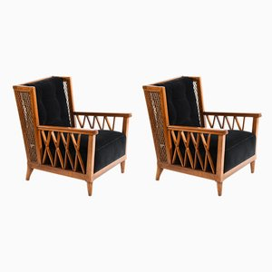 Italian Walnut Lounge Chairs from Pecorini Firenze, 1940s, Set of 2