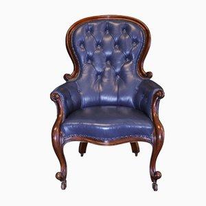 Antiker georgianischer Bibliotheken-Armlehnstuhl aus Mahagoni & blauem Leder
