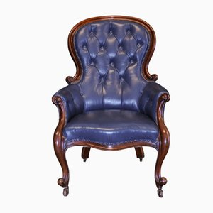 Antique Georgian Mahogany and Blue Leather Library Armchair