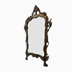 Mid-Century Baroque Style Italian Wooden Mirror, 1950s