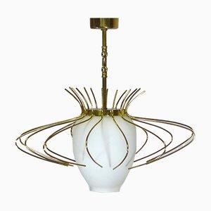 Lampada da soffitto Mid-Century in vetro opalino e ottone