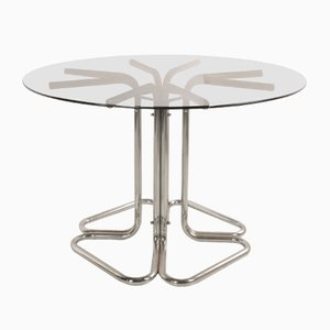 Italian Steel and Glass Dining Table, 1960s