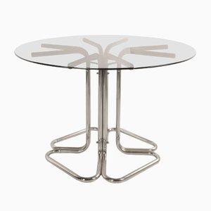 Italienischer Esstisch mit Stahlgestell & Glasplatte, 1960er