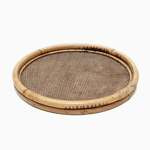 Round French Rattan Tray, 1950s