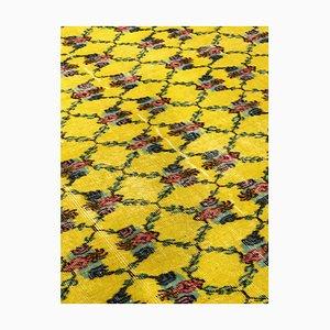 Gelber türkischer Art Deco Teppich mit floralem Muster von Zeki Müren, 1950er