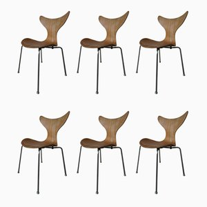 Oak Model Seagull Dining Chairs by Arne Jacobsen for Fritz Hansen, 1970s, Set of 6