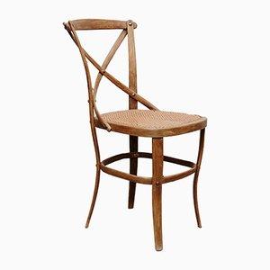Modell 91 Beistellstuhl aus Holz & Rattan von Thonet, 1920er
