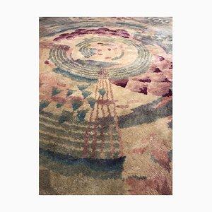 Grüner runder Teppich mit floralen Motiven von Gabriel Englinger, 1920er