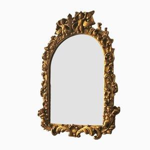 Barocker italienischer Spiegel mit Holzrahmen, 1950er
