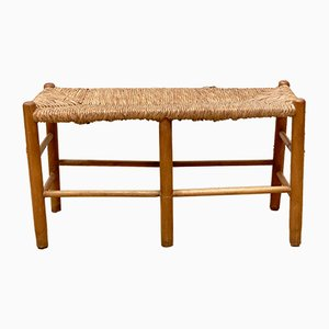 French Wooden and Rattan Bench, 1960s