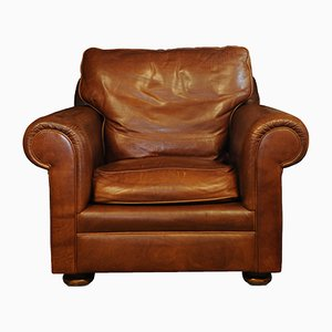 Art Deco Tan Leather and Wood Club Chair, 2000s