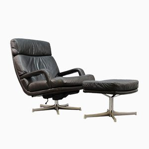 Vintage Leather Lounge Chair and Ottoman Set by Bernd Münzebrock for Walter Knoll / Wilhelm Knoll, 1970s