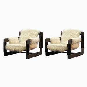 Mid-Century Sessel mit Gestell aus Schichtholz von Arne Jacobsen für Fritz Hansen, 2er Set